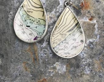 Silver Vintage Beach Boho Nautical Chart Map Dangle Drop Earrings