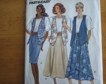 Butterick Pattern 4731 Misses' Vest, Top & Skirt     1990     Uncut
