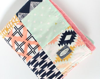 Baby Minky Patchwork Blanket, Navy, Coral, Mint Baby Girl Blanket