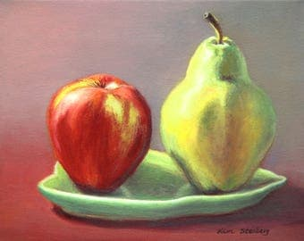 "ON SALE, Fruit Still Life, Original Oil Painting, 8 x 10"", ""Apple and Pear"" by Kim Stenberg, Contemporary Art, Ready to Hang Art"