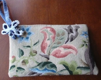 Needlepoint clutch denim wool Jacobean design wriststrap upcycled