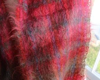 Gorgeous red pink green blue mohair vintage plaid / tartan scarf