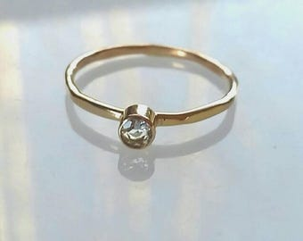 Gold Engagement Ring, Aquamarine 14K Solid Gold Ring, Promise Ring, Purity Ring, Gold Jewelry, March Birthstone, Birthstone Ring, 3 mm Stone