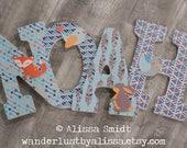 Arrow Feather Woodland Animal Themed Custom Nursery Wooden Letter - 12 Inch Large Nursery Letters (fox, bird, rabbit, bunny, arrow, tribal)