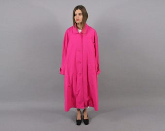 Woven Trench Coat / 80s Hot Pink Trench Coat / Trapeze Coat / Cotton Trench Coat / Maxi Trench Coat Δ fits sizes: S/M/L