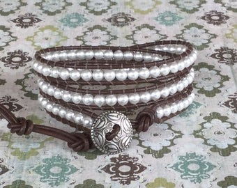 Pearl Leather Wrap Bracelet Chocolate Brown Leather Bohemian Jewelry Free Shipping White Pearl