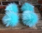 Aruba Husky Icy Blue Faux Fur Pom Poms for Toques Beanies Hats Keychains Purse Fob Charm Vegan Fake Plush Super Soft Long Pile Craft Supply