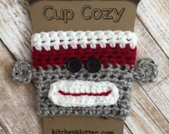 Sweet Handmade Crochet Sock Monkey Coffee To Go Cup Mug Sleeve Cozy