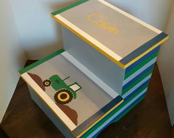 Tractor Stepstool - Green Yellow and Brown Stool - Personalized Tractor Stool - Stepstool - Bathroom Stool - Bedroom Stool - Steps