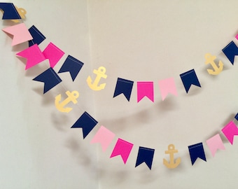Nautical Baby Shower Decorations / Anchor Garlands / It's a Girl Decor / Nautical Birthday Decor / Nautical Bridal Showers / Custom colors