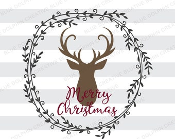 Rustic Merry Christmas with deer wreath SVG DXF png pdf jpg ai, Cricut, Silhouette cut file, vector, vinyl decal file, clip art, download