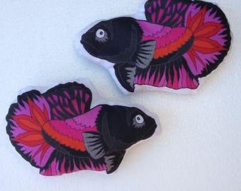 Fidgety Betta Fish weighted fidget toy squeaker or beanbag original artwork