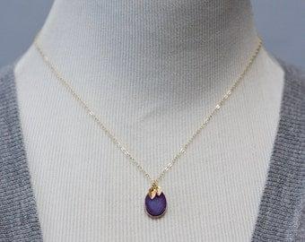 Purple Druzy Necklace Tiny Leaf Lavender Gemstone Gold Filled Chain Violet Crystal Gold Leaves Druzy Pendant -  N354