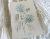 WASHED BLUE ROSES Botanical Original Sketch French Nordic Jeanne D Arc Living Style Shabby Chic Roses