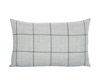 Bancroft Wool Plaid lumbar pillow cover in Fog