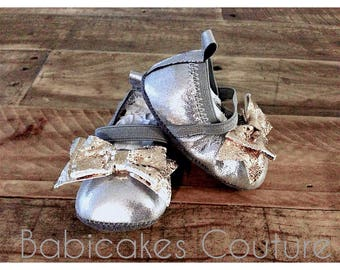 Newborn Baby Moccasins, Gold Baby Moccs, Mary Jane Baby Moccs, Baby Ballet Shoes, Sparkle Baby Shoes, Silver Baby Shoes, Silver Baby Moccs