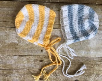 Newborn Bonnet Twin Set, Hand Knit Yellow and Blue Striped Bonnet Set, Newborn Photography Prop, Baby Bonnet, Ready To Ship, Girl or Boy