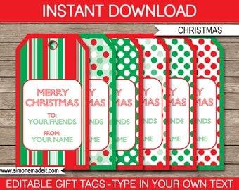 Printable Christmas Gift Tags - Christmas Tags - Merry Christmas Gift Tags - Custom Christmas Gift Tags - INSTANT DOWNLOAD - EDITABLE text