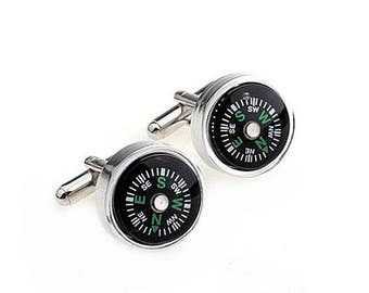 ON SALE Compass Cufflinks - Groomsmen Gift - Men's Jewelry - Gift Box Included