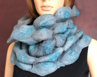 Handmade nunofelted art-scarf gray blue cowl scarf circle scarf  infinity scarf Ready to ship