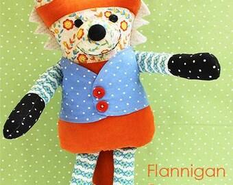 Flanigan Fox Soft Toy PATTERN by Jennifer Jangles, physical pattern not a pdf.  Fox Plush Toy