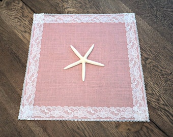 Burlap Table Squares with Lace Choose Your Color Burlap Centerpieces Burlap Table Toppers