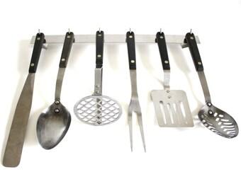 Ekco Vanadium / Flint Kitchen Utensils: Spatula, Spoon, Potato Masher, Icing Spreader, Meat Fork, Stainless Steel Rack