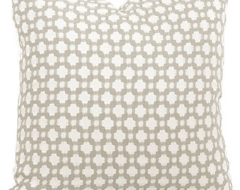 Schumacher Betwixt in Stone and White Decorative Pillow Cover, Toss Pillow, Throw Pillow, Accent Pillow 18x18, 20x20, 22x22, 24x24, 26x26