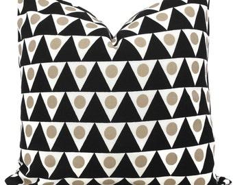 Outdoor Black and Sand Pennant Pillow Cover Schumacher Studio Bon, Square Lumbar or Eurosham, Schumacher, black tan pillow cushion