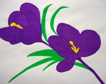 Artwork floral purple flower watercolour