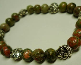 Bracelet, Stretchy Unakite Bracelet, Green and Brown Bracelet