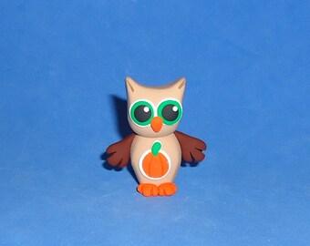 Polymer Clay Brown Fall Pumpkin Owl