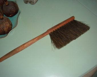 Antique Horsehair Brush Wood Handle