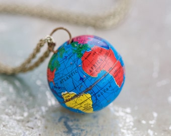 Terrestrial Globe Necklace - I Give you the World - Planet Earth Keepsake Pendant on Long Chain