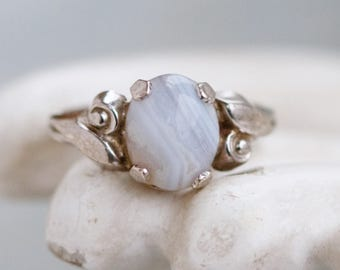 Art Nouveau Silver Ring with Pale Blue Agate - Sterling Silver Ring - Size 7