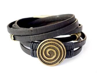 Black Cork Spiral, Wrap Bracelet, Whirly Wrap, black Portuguese Cork, brass spiral vintage button, brass accents, secure magnet, easy on
