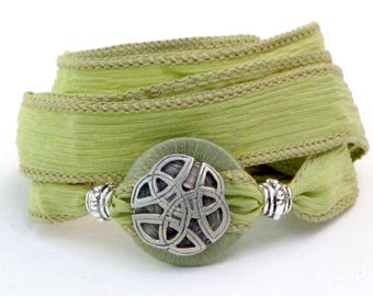 Green Celtic Knot, Silk Wrap Bracelet, Whirly Wrap, silver Celtic Eternal Knot,, celery green, wrapped Whirly, secure magnet, easy on
