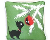 "HOLIDAY SALE Christmas Kitty Throw Pillow Cover with Piping - Christmas Kitty with Ornament / Handmade Christmas Decor / 16"" x 16"""