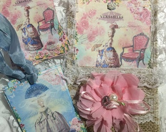 Exclusive Marie Antoinette Burlap Pocket and( Set of 8 ) Gift Tags, Stationery, Scrapbooking, Journals, Gift Item, Gift Tag Holder