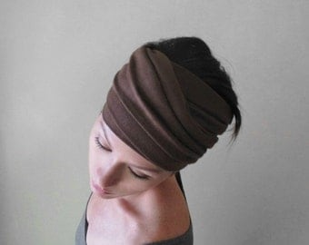 MILK CHOCOLATE BROWN Yoga Head Scarf - Lightweight Jersey Hair Wrap - Womens Yoga Hair Accessories - Yoga Headband - Brown Head Wrap
