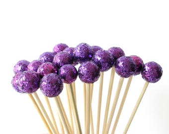 Purple Drink Stirrers, Midnight Wedding Decor, Disco Party, Summer Wedding, Sparkle Drink Topper