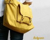 20% Valentine Sale CARSON // LemonChiffon / Line with Beige / 032 / Ship in 3 days // Messenger / Diaper bag / Shoulder bag / Tote bag / Pur