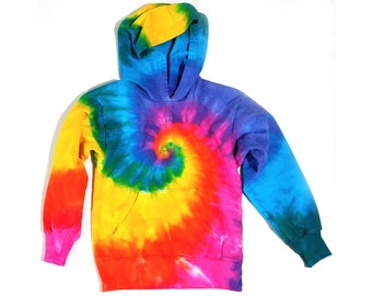 Toddler Rainbow Tie Dye Hoodie, Pullover Hooded Sweatshirt, Pink Rainbow Spiral Design, Size 2T, 4T, 6, Eco-friendly Dyeing