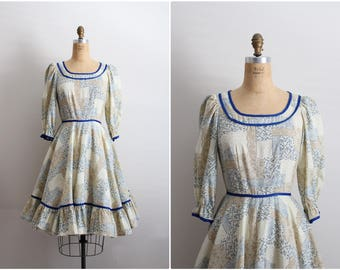 60s Lolita Dress / Square Dance Dress / Full Skirt Dress / Rockabilly Dress/ Size S/M