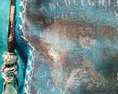 Gypsy fortune teller, teal silk, drawstring pouch, silk lined, treasure pouch, coin pouch, crystal pouch, tarot pouch, fluorite, embroidery