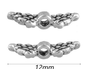 20pcs-2 sided-12mm Angel Wing metal spacer beads- antique silver tone spacer