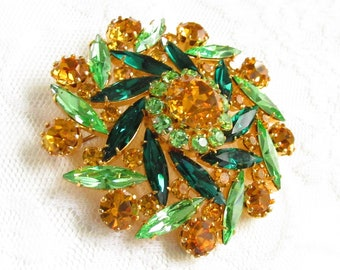 Large Vintage Emerald Green Yellow Amber Rhinestone Flower Brooch signed Austria