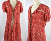 1930s Feed/Flour Sack Red Floral Print Dress, Needs TLC, Wounded Bird