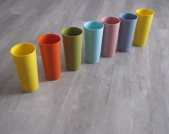 Vintage Multicolored Tupperware Cups Tumblers - Set of Seven