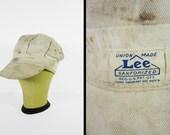 Vintage 1930s Lee Painter's Cap Housemark Rare White HBT Worker Hat - Size Small